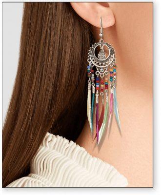 boucle d'oreille plume femme